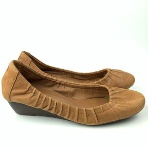 Women's lucky brand wedges 8.5 38.5 brown leather